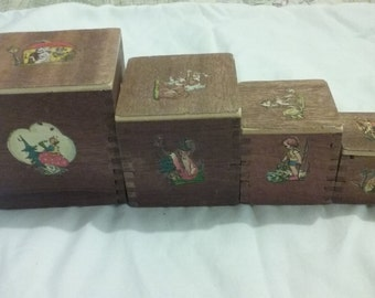 Vintage Wooden Stackable Toy Blocks