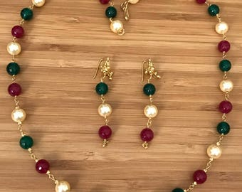 22 k Gold and Beads Necklace and 22 k Pure Gold Interchangeable Earrings Set Pearls, Emeralds, Rubys Necklace and Earrings Tri-colored Set
