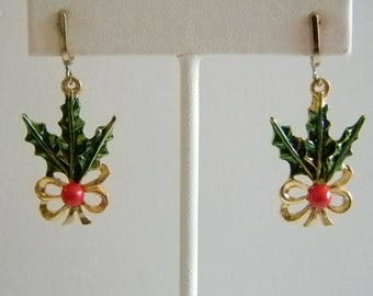 Gold Bow Red Green Enamel Holly Berries Holiday Screw Back Earrings