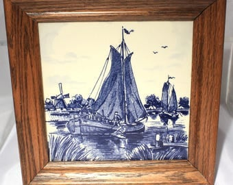 Delft Framed Blue and White Tile, Blauw Delfts Home Decor Wall Art with Fishing Boat
