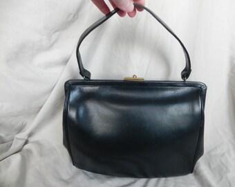 1950's or 1960's Vintage Black Leather Classic Handbag Pocketbook Mad Men Style by Merit