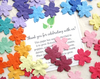 100 Plantable Paper Confetti Cherry Blossom Flowers Seed Paper Confetti Wedding Favors - Your Choice Color