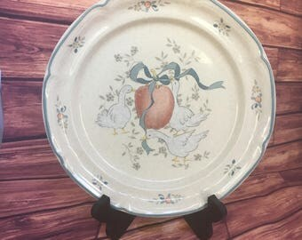 "Marmalade by International 10 3/4"" Inch Dinner Plate, replacement china, country kitchen, geese collectibles, country duck, apple, ribbons"