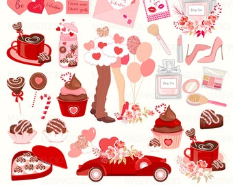 "Valentines clip art: ""BE MY VALENTINE"" with Valentine's Day clipart, romantic clipart, chocolate clipart , 43 images, 300 dpi png files"