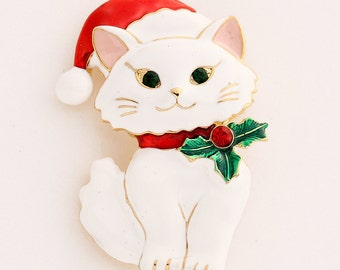 Christmas Brooch, White Kitten, Broach, Christmas, Christmas Broach, Kitty Cat, Jewelry, Brooch, DIY Project Jewelry Craft Embellishment
