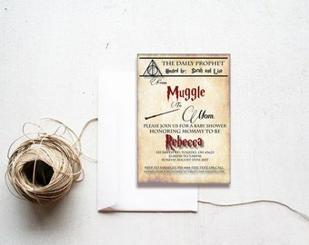Harry Potter,baby shower invitation, muggle to mom,the daily prophet,Harry Potter baby Shower Invitation,Baby shower invitation,Harry potter