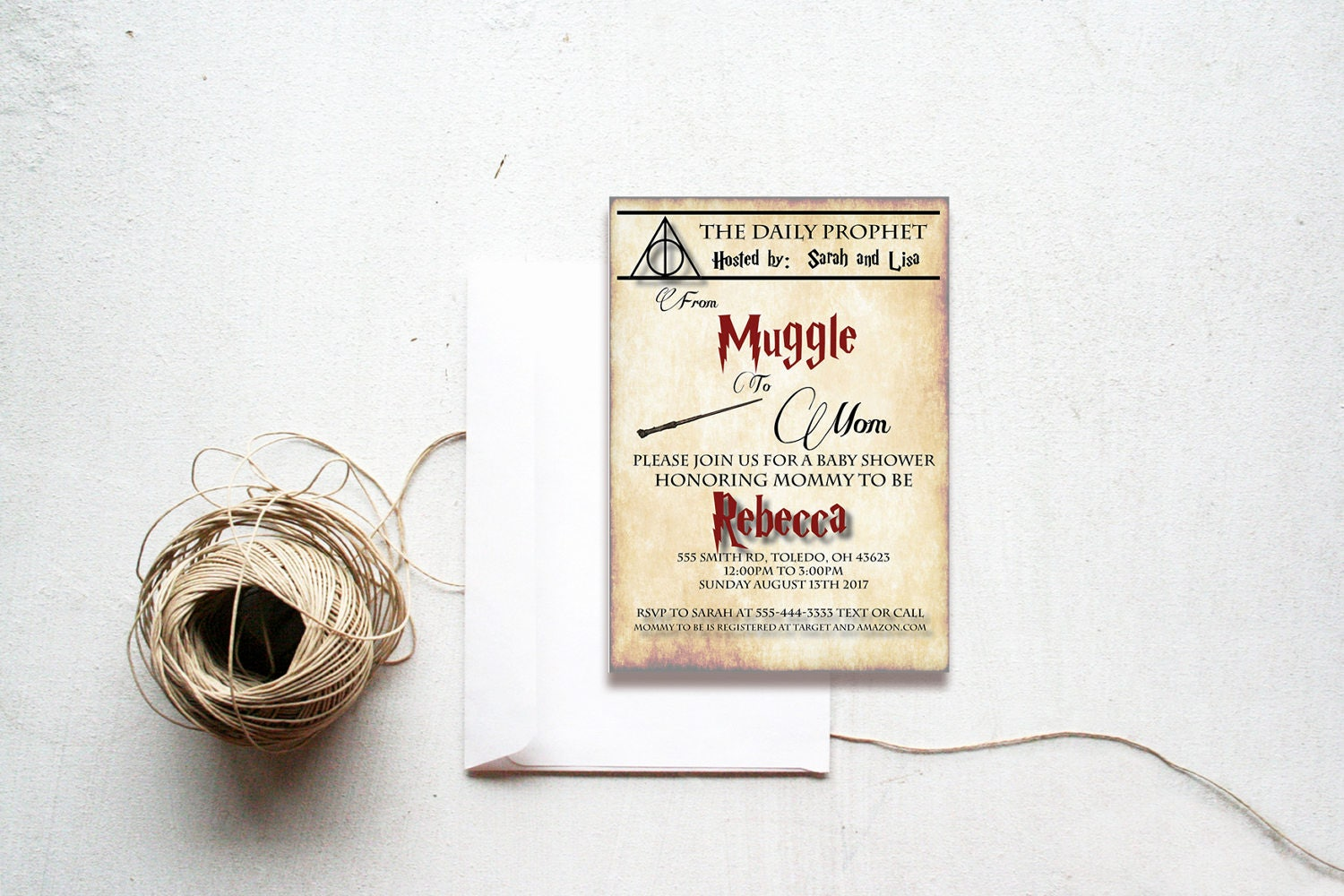 Harry Potter,baby shower invitation, muggle to mom,the daily prophet ...