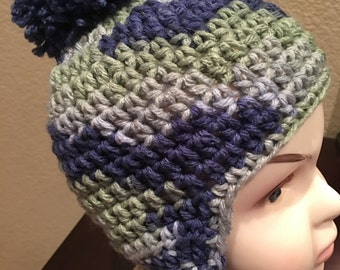 Boys Green, Grey and Blue Ear Flap Beanie Kids or Adult