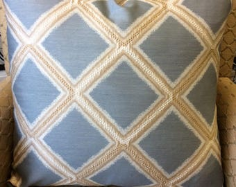 Blue, Gold and White Diamond Pattern Pillow Cover w/ Zipper, Blue and Gold Pillow, Blue Diamond Pillow, Nautical Pillow 20x20