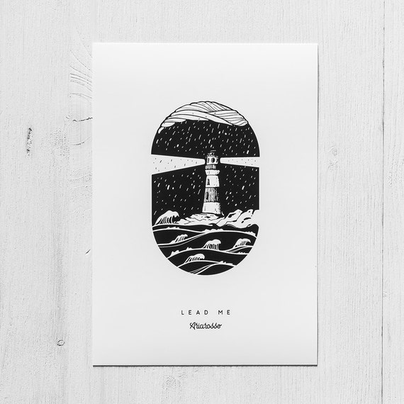 Poster Art Print - Lead Me Blackwork Series A5 Size - Lighthouse Moon ...