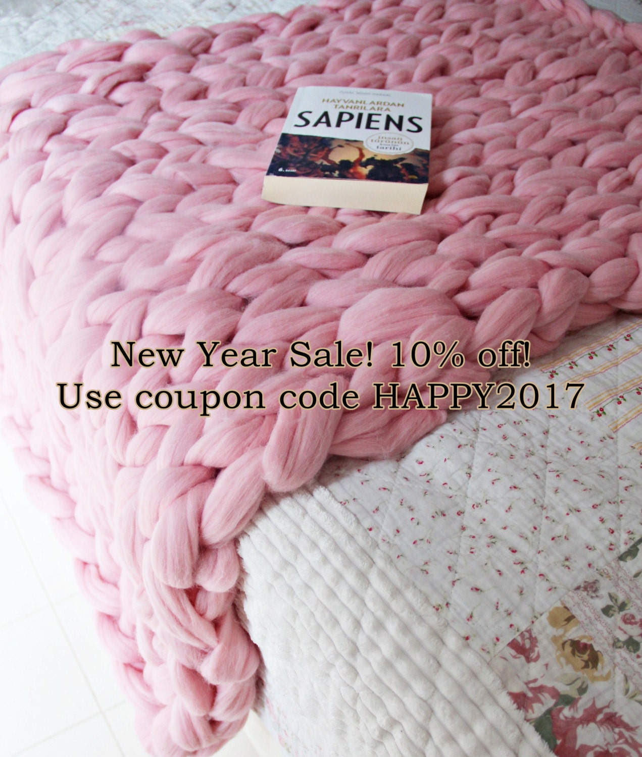 chunky knit light pink blanket throw hand knit by theknittherapy. Black Bedroom Furniture Sets. Home Design Ideas