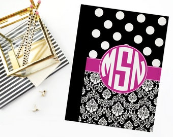Personalized Notebook, Monogram Notebook, Personalized Padfolio Case, Notebook Cover, Monogrammed Padfolio, Teacher Gift, Note Pad Cover