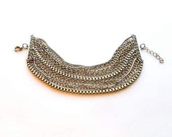 Vintage Silver Multi Layer Chains Bracelet