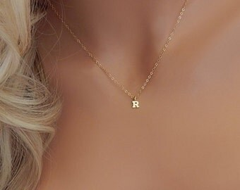 Initial Necklace • Letter Necklace • Gold Letter Charm • Monogram Necklace • Minimal Letter Necklace • Girlfriend • Bridesmaid Gift