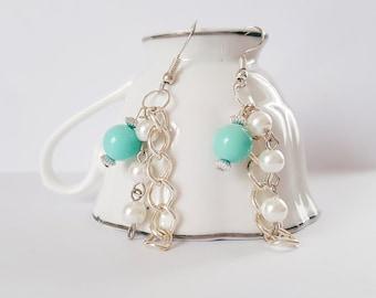 Green Bead, Pearl & Chain Dangle Earrings.