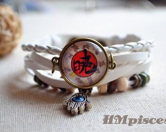 Anime Naruto Bracelet,Akatsuki leather bracelet,Eye hand charm bracelet,あかつき picture jewelry,cabochon photo braided bracelet (SL025)