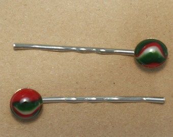 Fused Glass Bobby Pins; Set of 2; Red, Green & White