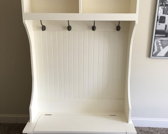 Hall Tree / Mudroom storage Bench and Hutch made by Something British
