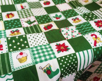 CHRISTMAS FABRIC By The Yard, Snowman, Pladi fabric, Gift, Toy, pattern of 100% Cotton Fabric