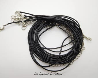 10 Cotton waxed black 1.5mm cords for necklace Necklace