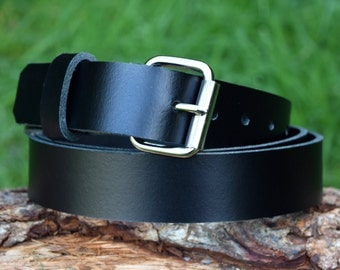 Cristopher Handmade Black Leather Belt fitted with Nickel Plated Roller Buckle