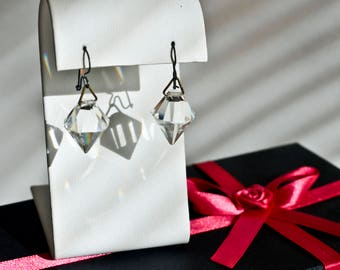 Vintage Prism Dangle Earrings for Pierce Ears - Clear Crystal Dangle Earrings