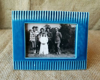 Photo frame (for table) in blue glazed ceramic