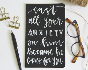 Prayer Journal // Custom Journal // Personalized // Hand Lettered // Anxiety Journal // 1 Peter 5:7