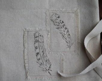 Blue Jay Feather Gift Bag, Fabric Gift Bag, Small Reusable Gift Bag