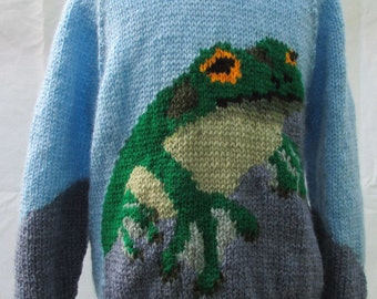 Hand knitted Frog Sweater