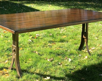 SOLD - Reclaimed Wood Coffee Table, Antique School Desk Legs, High-Low Table, Rustic, Upcycled, Reclaimed, Refinished, Repurposed