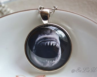Shark Picture Necklace -Scary White Shark Pendant Necklace  - Personalized Photo Pocket Watch/keychain Jewelry - Unique gift