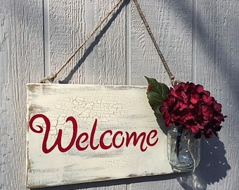 Rustic Welcome Sign with Mason Jar Flower Holder