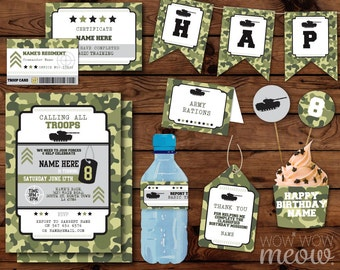 Camouflage Army Party Package Invitation Birthday Military Troops Tag Cards Decoration Printable Collection DOWNLOAD Editable Personalize