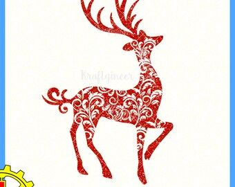 Swirly Deer Christmas Reindeer svg cut file for Cricut Silhouette Scan N Cut Commercial Use