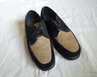 70s Black and Beige Hush Puppies Dress Shoes US Women's 7