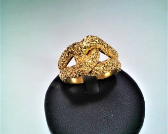 friendship knot ring silver gilt