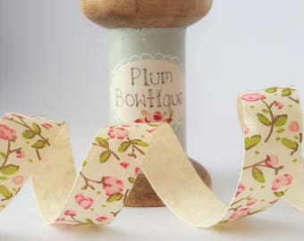 Delicate Pink Floral Print on Ivory Soft Cotton Ribbon, 18mm wide *Sold Per Metre*