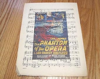 Phantom of the Opera Art Print on Vintage Music Sheet - Gothic Wall Decor Wall Print Universal Monster Horror