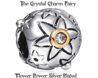 """European Charm Bead with Gold """" FLOWER POWER"""" With Crystals Fits All Large Hole / Pandora / European / Charm Bracelets or Necklaces"""
