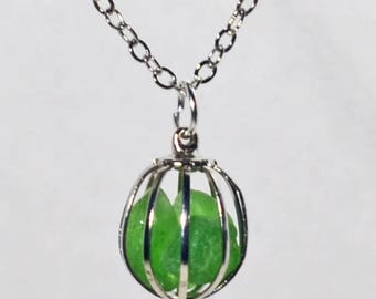 """Genuine Maine Sea Glass Pendant with 20"""" silver plated chain"""