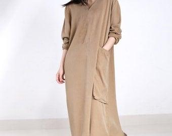 Linen Women Dress Linen Women Dresses With Large Pockets YZ--89