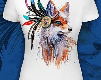 Rogue Fox - Women's t-shirt psychedelic festival clothes Glow under UV psy party wear blacklight girls tee Ear Cuff feather