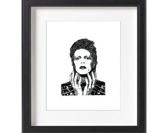 David Bowie Black Ink Drawing Limited Edition Fine Art Digital Print