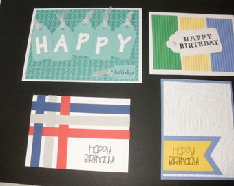 4 Different Generic Birthday Cards (Greeting Cards) KIT with Die Cuts, Embellishments