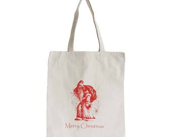 Tote bag, Market Bag, Reusable Shop Bag, Old Time Santa