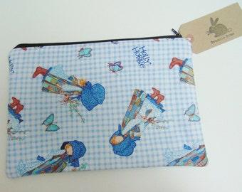 Handmade Makeup Bag, Holly Hobbie Hobby Blue Cotton & Butterfly Cosmetics Case