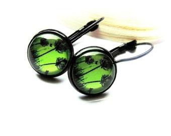 Cabochon earrings Brisur dandelion dandelion
