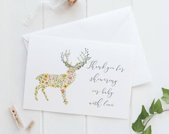 Baby Shower Thank You Cards, Baby Thank You Cards, Baby Shower Thanks, Thank you for showering our baby with love, Deer Baby Shower