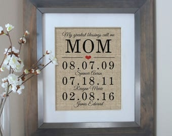 My Greatest Blessings Call Me Mom | Personalized Gift for MOM | Mothers Day Gift from Kids | Gift for Mom | Family Date Sign | Mom Birthday
